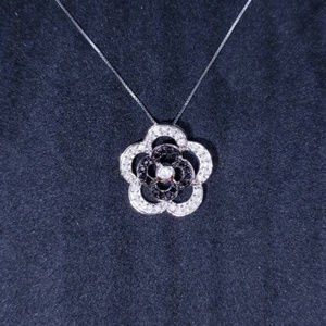Silver Cute Flower with CZ Stones Pendant